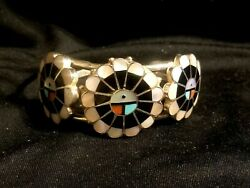 Vintage Zuni Sterling 3 Sun Face Turquoise Coral Mop Inlay Cuff Bracelet B Pedro
