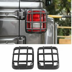 2x Black Rear Tail Light Lamp Cover Guard Trim Fit For Jeep Wrangler Jl 2018-20