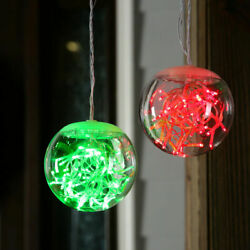 Ge Staybright 2-count 4-ft Red/green 100 Led Light 4.7-in Transparent Globe