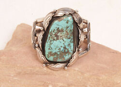 Navajo Silver And Turquoise Cuff Bracelet By Loren Begay Fits Up To 6 1/4 Wrist