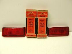 2 1941 Ford Lynx Eye Stop And Tail Lamp Lens L+r Vintage Stock Ruby Glass.