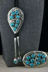 Zuni Turquoise And Sterling Silver Bolo Tie And Buckle - Jude Candelaria