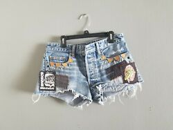 Denim SHORTS patches LIGHT WASH Size S. 4 pockets. Button fly. Silver stud.