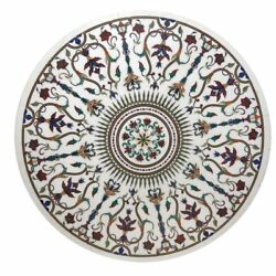 48and039and039 Round Marble Coffee Table Top Malachite Semi Precious Stone Floral Work