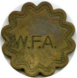 W. F. A. Initials Crop Pickers Check Golden Hill, Maryland Md Token