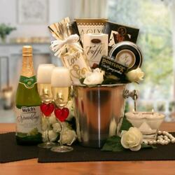 Romantic Evening for Two Valentine Wedding Gift Basket Champagne Bucket Snacks $74.99