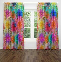 Maximalist Floral Lined Window Curtains By Folknfunky