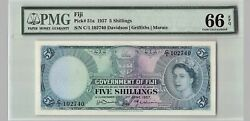 Fiji 5 Shillings 1957 P-51a Pmg 66 Epq Gem Unc Top Pop