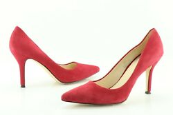 Nine West Flax Women's US 8.5 M Red Suede Pointed Toe Pumps High Heels Shoes 60D