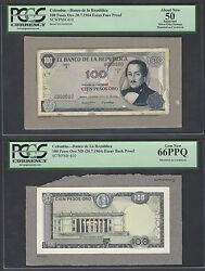Colombia Obverse And Reverse 100 Pesos Oro 20-7-1964 P410p Essay Proof