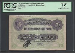 East Africa 20 Shilling - One Pound 1938-42 P30ct Color Trial Extremely Fine