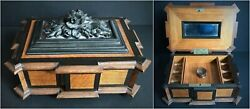 Rare Antique Wood Carved Napoleon Iii French Sewing Box Chest