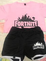 Womenand039s Fortnite Pink Top And Black Bottom - Xs New With Tags