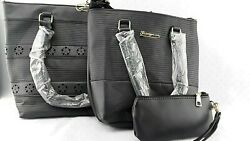 Fianyuan 3 Piece Purse Set Matching Tote Cross Body And ClutchMake-Up Bag Black