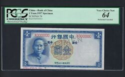 China One Yuan 1937 P79s Specimen Perforated Uncirculated