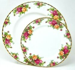 """Royal Albert Old Country Roses 10 1/2"""" Dinner Plate And 8 Salad Plate"""