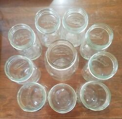 Lot Of 10 Vintage Clear Longlife Mason Canning Jars Most Pints One Quart