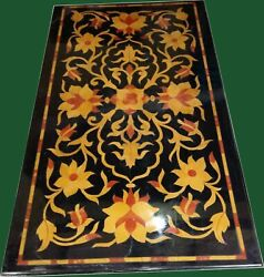48 X 24 Marble Center Table Top Semi Precious Stones Floral Inlay Art Work