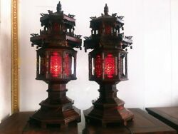 A Pair of Mahogany Octagonal Lamps Bodhisattva Hall Temple Decoration Lamps