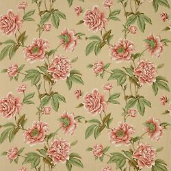 Colefax And Fowler Shabby Giselle Peonies Linen Fabric 10 Yards Red Beige Multi