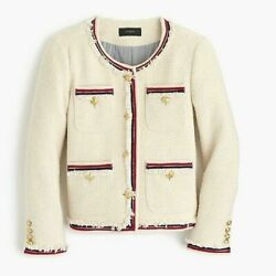 J.crew Ivory Cream Red Fringy Tweed Nautical Gold Buttons Jacket Sz / Small