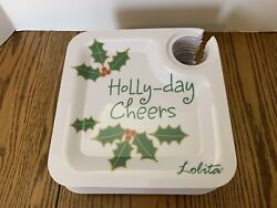 Lolita Holly-day Cheers 16 Plastic Luncheon Plates 8 X 8 Christmas Party