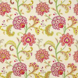 Manuel Canovas Sona Jacobean Embroidered Fabric 10 Yards Hot Pink Cream Multi