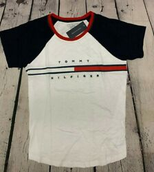 New Tommy Hilfiger Womens T Shirt Tee White Multi Relaxed Fit TH Flag NWT $23.60