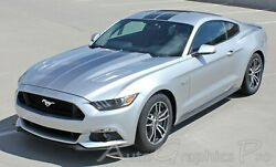 Ford Mustang Digital Faded Rally Stripe Black Hood 2015-2017 Vinyl Decal Graphic
