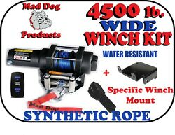 4500 Mad Dog Wide Synthetic Winch/mount Kit For '19-21 Honda Talon 1000 / 1000-4