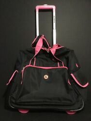 Olympia Hover Spinner Rolling Tote Under Seat Luggage Laptop Bag Black amp; Pink $49.99