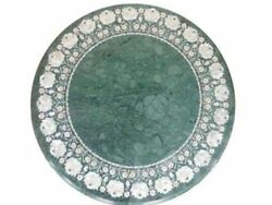24 Round Green Marble Center Table Tops Semi Precious Stones Inlay Works