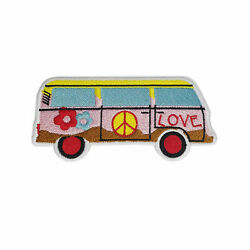 Love Van 70s Hippie Retro Boho Weed Love Applique Iron-on Embroidered Patch New