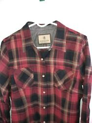 Legendary Whitetails Flannel Shirt Womens Large Red Gray Black