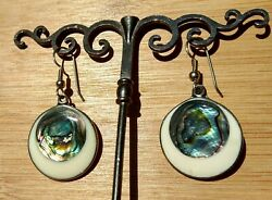 Abalone Shell Pierced Vintage Mexican Jewelry Round Disks Silver Dangling