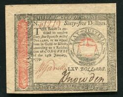 January 14 1779 65 Sixty Five Dollars Continental Currency Note Unc
