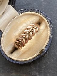Victorian Antique Rose Gold Plaited Keeper Ring Band