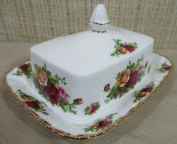 Royal Albert China Old Country Roses Covered Butter Dish And Rectangular Cover