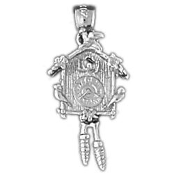 New Polished Rhodium Plated 925 Sterling Silver Cuckoo Clock Charm