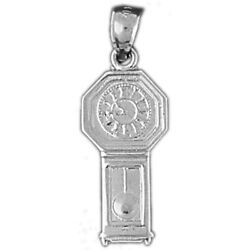 New Polished Rhodium Plated 925 Sterling Silver Shimming Clock Charm