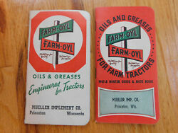 Vintage 1947 And 1948 Farm-oyl Advertising Notebook Oil And Greases