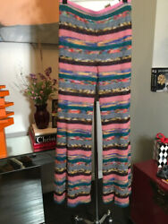 Missoni Size 42 Pink And Green Waffle Striped Knit Striped Pants 2400-386-11820
