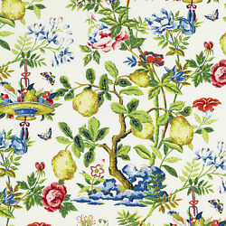 Scalamandre Chinoiserie Shantung Garden Fruits Floral Fabric 10 Yards Spring