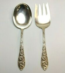 Frank Whiting Easter Lily Sterling Silver Salad Serving Fork+spoon Set Repousse