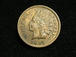 Must Go Sale Au 1897 Indian Head Cent Penny W/ Full Liberty And Diamonds 139i