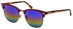 Ray Ban Clubmaster Sunglasses RB 3016F 1222C2 55 Violet Green Rainbow Flash Le $82.78