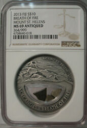 2013 Fiji S10 Breath Of Fire Mount St. Helens Ngc Ms 69 Antiqued Silver 364/999