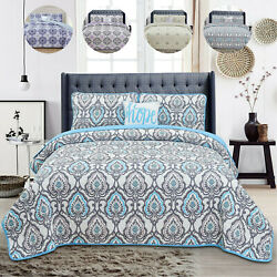4 Piece Bedspread Coverlet Lightweight King Queen Size Quilt Set And Pillowcases
