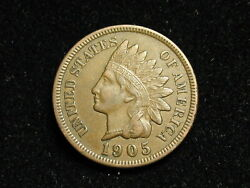 Must Go Sale Au 1905 Indian Head Cent Penny W/ Full Liberty And Diamonds 194i