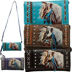 Horse Wallet Western Feather Tassel Crossbody Women Wristlet Clutch Small Purse $26.99